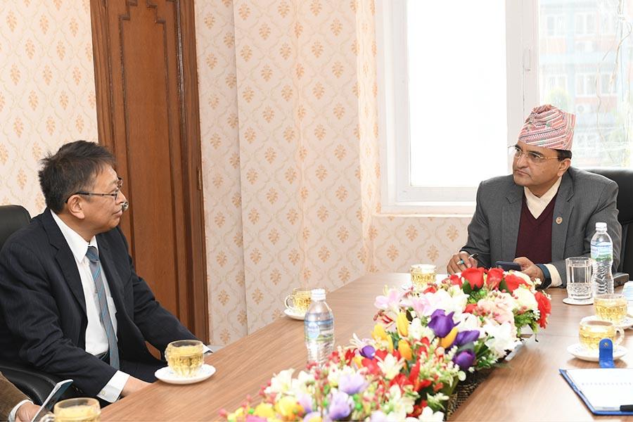 माननीय संस्कृति, पर्यटन तथा नागरिक उड्डयन मन्त्रीज्यूको जापानी महामहिम राजदूत Mr. Masamichi Saigo संग जापन सरकारको सहयोगमा नेपालमा संचालित पर्यटन र हवार्इ  सेवासंग सम्बन्धित परियोजनाहरुका सम्बन्धमा छलफल भयो। तस्वीर-२०७६।९।२९