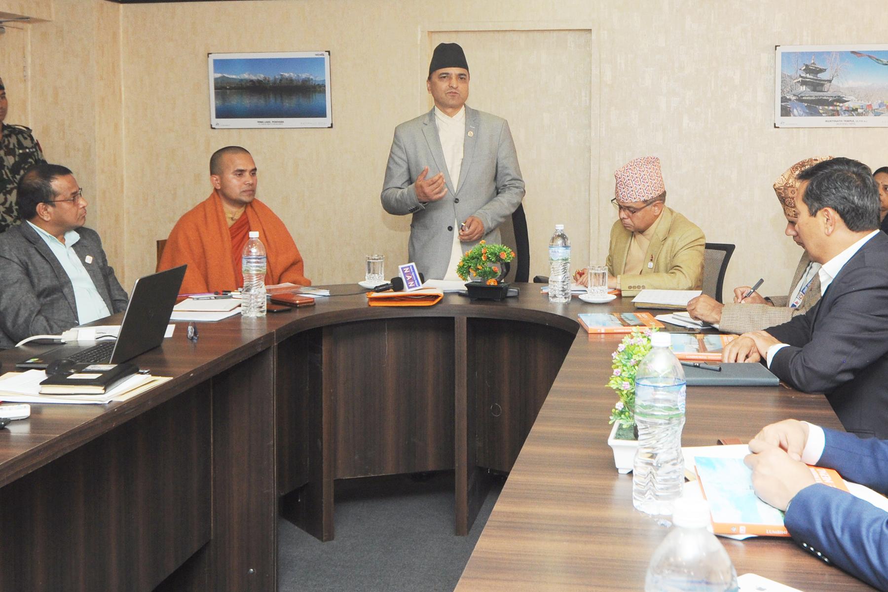मा.संस्कृति, प तथा ना. उ. मन्त्रीज्यूको अध्यक्षतामा भएको लुम्बिनी विकास परिषद् बैठकका  तस्वीर- (२०७६-११-२८)