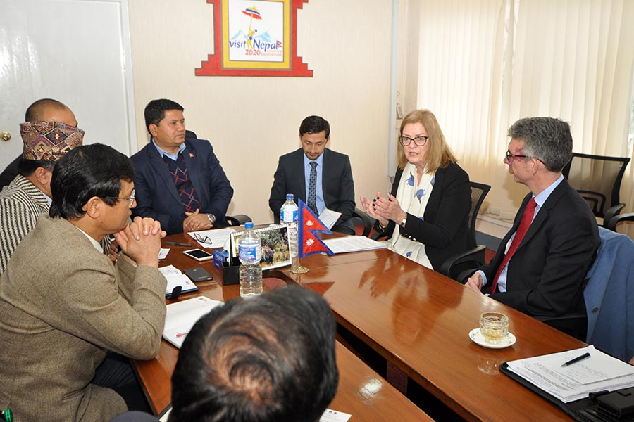 A meeting between Hon. Minister  Rabindra  Adhikari  and  EU Ambassadors