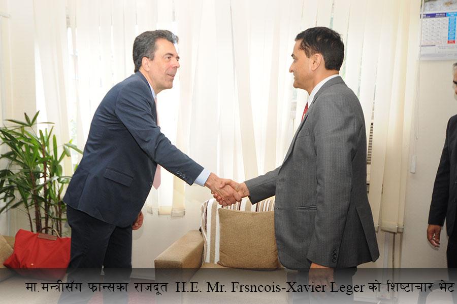 आज मिति २०७६ भद्रौं १७ गते, UN Resident Coordinator Ms.Valerie Julliand का साथै नेपालका लागि महामहिम राजदूतहरु क्रमशः जर्मनीका Mr. Roland Schafer  र फ्रान्सका  Mr. Frsncois-Xavier Leger  को मा. मन्त्री श्री योगेश भट्टरार्इसँग छुट्टा छुट्टै शिष्टाचार भेटका तस्वीर