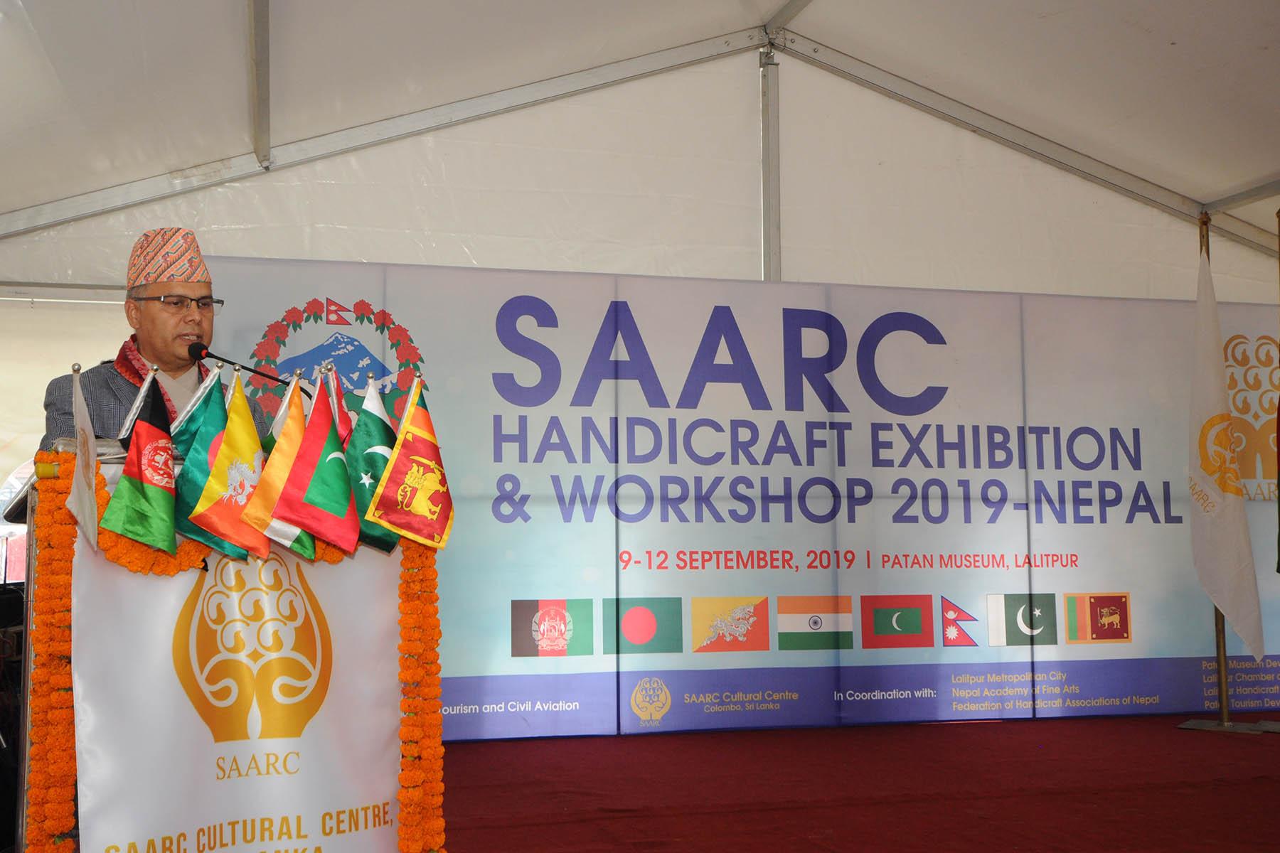 मा. संस्कृति, पर्यटन तथा नागरिक उड्डयन मन्त्री श्री योगेश भट्टरार्इज्यूबाट  SAARC Handicraft Exhibition and Workshop 2019-Nepal को उद्घाटन समारोहका तस्वीरहरु(२०७५-५-२३)