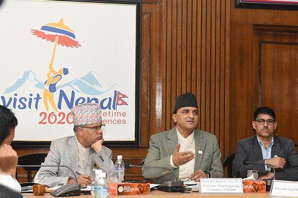 माननीय मन्त्रीज्यूको अध्यक्षतामा बसेको Visit Nepal 2020 मूल आयोजक समितिको पाँचौं बैठकका तस्वीहरु-मिति २०७६-०८-०९